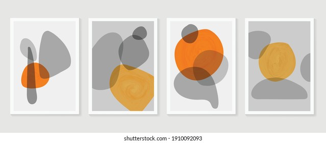 Abstract wall arts vector. Mural wall art. Hand draw organic shape design for wall framed prints, canvas artwork, canvas prints, poster, home decor, cover, wallpaper. Vector illustration.