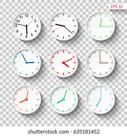 Abstract wall clocks design set. Transparent background. Template for your design works. Vector illustration.