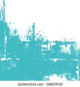 Abstract wall painted in turquoise color. Splashes on white. Vector illustration, background.