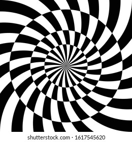 Abstract wallpaper. Optical illusion background. Vortex starburst. Vector design. Striped black and white backdrop. Swirl, twirl elements. Psychedelic, hypnotic print for poster. Modern cover.