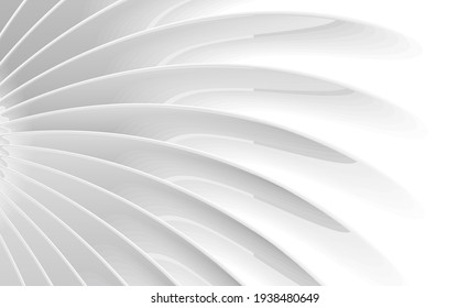 Abstract wallpaper with white monochrome 3d illustration od radial volume lines forming shape from the center to the edges, presentation cover