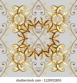 Abstract wallpaper, wrapping decoration. Vector golden pattern on gray, beige, brown colors. Symbol of winter, Merry Christmas holiday, Happy New Year 2019. Golden snowflake simple ornamental pattern.