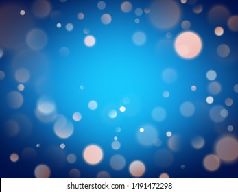 Abstract warm bokeh effect on blue background. Gold glitter lights. EPS 10