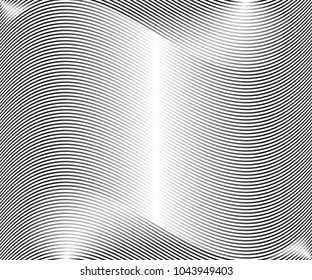 Abstract warped Diagonal Striped Background. Vector curved twisted slanting, waved lines texture. Brand new style for your business design.