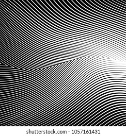 Abstract warped Diagonal Striped Background . Vector curved twisted slanting, waved lines texture