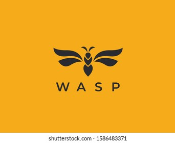 Abstract wasp logo. Stylized insect icon. Wasp, hornet, bee or bumblebee. Simple cretive vector illustration.