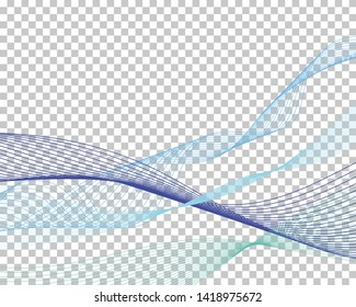 Abstract water background with transparency grid on back. Vector Illustration.