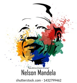 Abstract water colour style for International Nelson Mandela Day with South Africa Flag colour. - Vector
