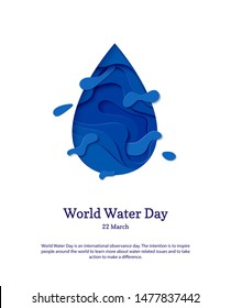 Abstract water drop in cut paper style. Cutout sea wave template for for save the Earth posters, World Water Day, eco brochures, logo. Vector blue waterdrop splash applique card illustration.