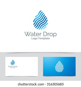 Abstract water drop logo template. Corporate branding identity. Made of lines icon