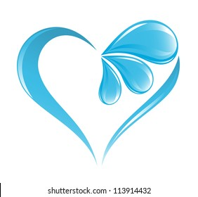 Abstract water icon with heart element