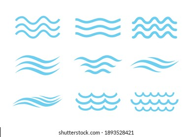 Abstract water icon set on white background.