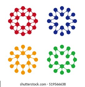 Abstract water molecule vector logo template set. You can use in biotechnology, energy, environmental protection, water and electricity equipment, computer medical science concept icon.