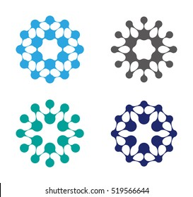 Abstract water molecule vector logo template set.You can use in biotechnology, energy, environmental protection, water and electricity equipment, computer medical science concept icon.