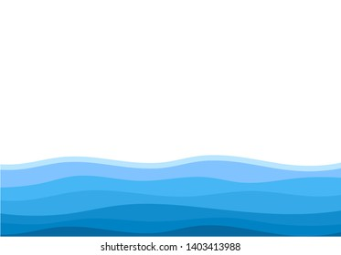 Abstract water wave isolated on white background vector illustration.