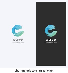 Abstract Water Wave Shape Logo Design Template. Corporate Business Theme. Cosmetics, Surf Sport Concept. Simple and Clean Style. Vector.