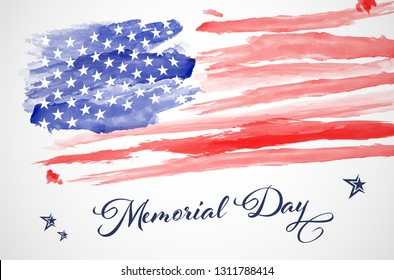 Abstract watercolor american flag - Memorial day. Vector illustration.