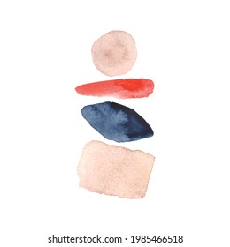 Abstract Watercolor arrangements. Navy Blue, Red, Blush, Pink watercolor elements on white background. Abstract modern wall art. Print. Poster. Illustration