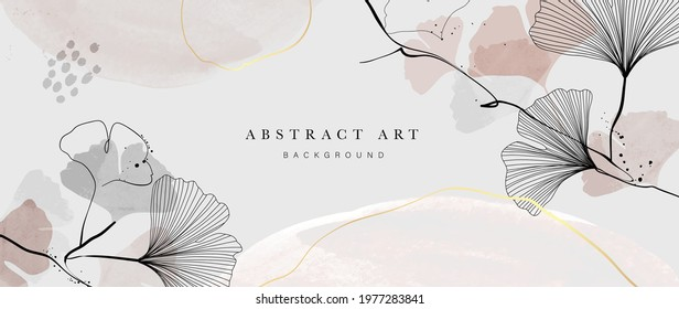 Abstract watercolor art background vector. Gingko and botanical line art wallpaper. Luxury cover design with text, golden texture and brush style. floral art for wall decoration and prints.