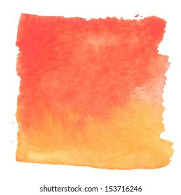 Abstract watercolor art hand paint isolated on white background. Watercolor stains. Square red-orange watercolour banner