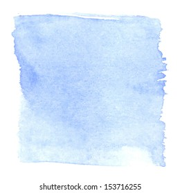 Abstract watercolor art hand paint isolated on white background. Watercolor stains. Square blue watercolour banner