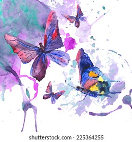 Abstract watercolor background with beautiful butterflies, vector greeting card