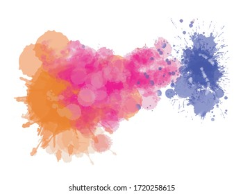 Abstract watercolor background drawn by hand on paper. Volumetric smoke elements. Pink, blue, orange. For design, web, map, text, decor, surfaces, design