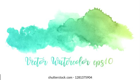 Abstract watercolor background image with a liquid splatter of aquarelle paint, isolated on white.Green and yellow pastel tones