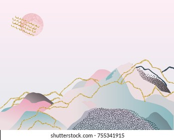 Abstract watercolor background. Japanese design. Hand drawn illustration