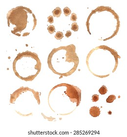 Abstract watercolor background, vector illustration for coffee or tea round stains.