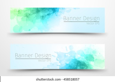 Abstract watercolor banner design for business.