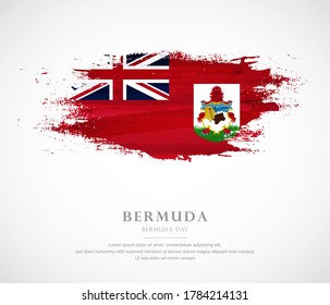 Abstract watercolor brush stroke flag for Bermuda Day