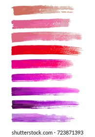 Abstract watercolor brush strokes isolated on white, creative illustration,fashion background. Vector illustration