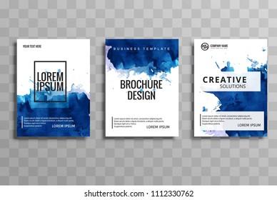 Abstract watercolor buisness brochure template vector