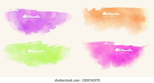 Abstract watercolor color brush strokes set painted background. Texture paper. Vector illustration.