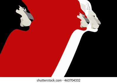 Abstract watercolor draw of three lion head (color white red  and black), force logo, emblem of power, pattern free animals, vector print, business command  banner, art  fashion design background