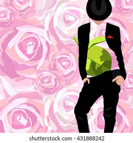 Abstract watercolor drawing of a Man groom, black suit (jacket pants hat), shirt with floral print,  vector background of pink roses, spring summer fashion, design stylish trendy fabric texture, shop