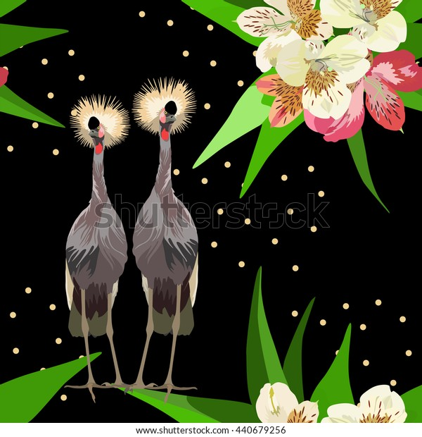 Abstract watercolor drawing two  African crowned cranes, vector  background with flowers seamless pattern, summer  fashion design , color tropical vector prints