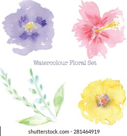 Abstract Watercolor flowers. High resolution image. Includes 3 watercolor flowers, 2 leaves and 2 leaf stems.