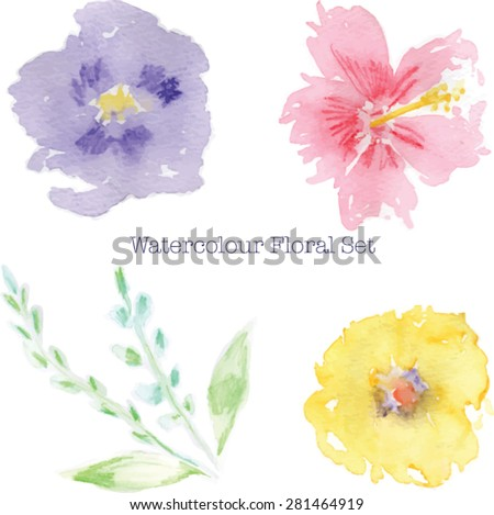 Abstract Watercolor Flowers High Resolution Image Includes 3 2 Leaves And