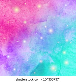 Abstract watercolor galaxy sky background. Watercolor texture for design