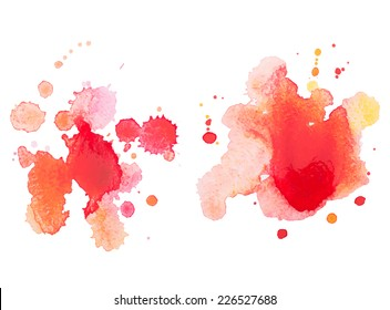 Abstract watercolor hand drawn red drop splatter stain art paint on white background Vector illustration