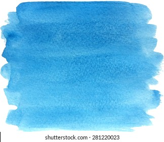 Abstract watercolor hand paint texture, isolated on white background, watercolor textured backdrop in bright blue color with paper texture, watercolor drop, traced, vector eps 8
