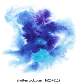 Abstract watercolor hand painted background in blue colors
