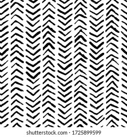 Abstract watercolor herringbone stripes vector seamless pattern. Fashion textile print in black white hatch strokes. Ink texture background. Trendy fabric design, wallpaper decoration, wrapping paper