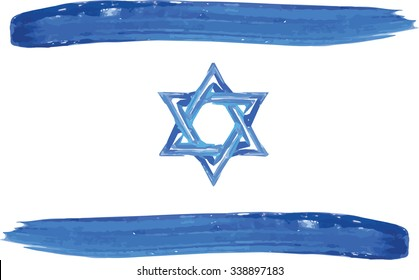 Abstract watercolor Israel flag vector illustration