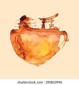 Abstract watercolor japan tea cup, vector