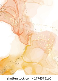 Abstract watercolor marble stain texture. Pastel illustration vintage design, neutral warm colors ink splash with digital gold glitters, sparkles, smudged elements in vector.