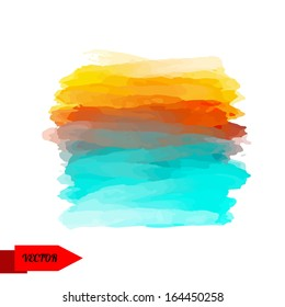 Abstract watercolor multicolor spot isolated on white background. Hand painting - vector