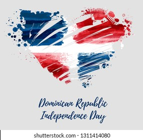 Abstract watercolor paint brushed flag of Dominican Republic in grunge heart shape. Dominican Republic Independence day holiday concept background